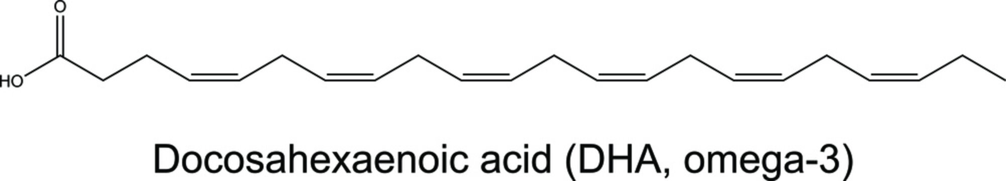 Docosahexaenoic acid DHA omega-3 molecule chemical formula