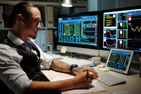 Professional trader finishing up the day by reviewing trades, making note of what went well and what could have been done better