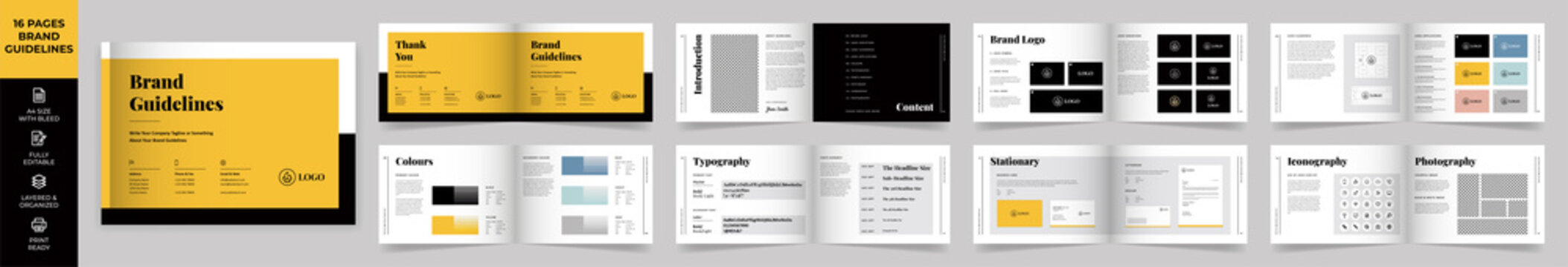 Landscape Brand Manual Template, Simple style and modern layout Brand Style , Brand Book, Brand Identity, Brand Guideline, Guide Book