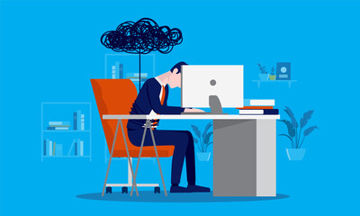 Fototapeta Home office depression - Businessman tired of working from home, feeling sad and fatigue. Vector illustration. obraz