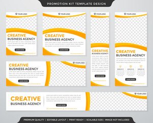 Fototapeta multipurpose promotion kit template design with modern style and concept use for business display ads and publication obraz