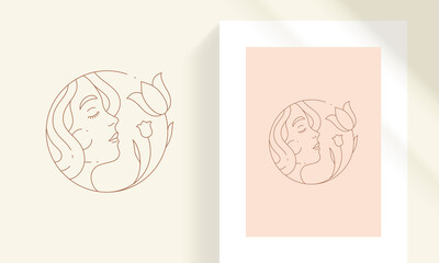 Beauty female face with flowers line art style vector illustration. Fototapete