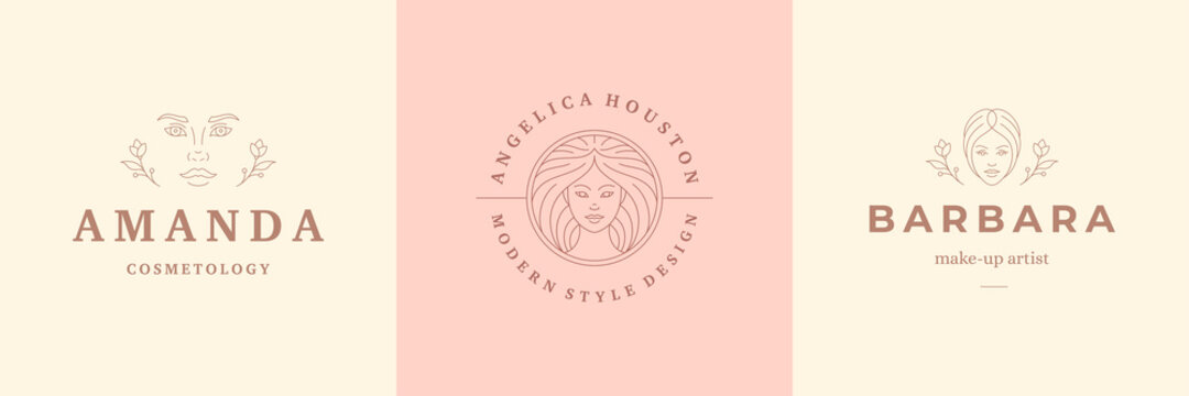 Feminine logos emblems design templates set with beauty female portraits vector illustrations minimal linear style