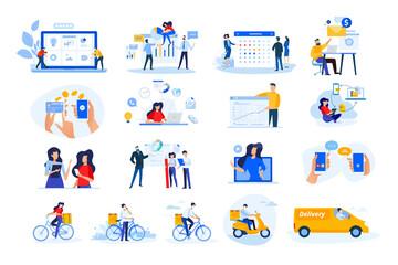 Obraz Set of modern flat design people icons. Vector illustration concepts of delivery, ebanking, communication, project development, business management, Internet marketing, seo, video calling. - fototapety do salonu