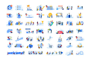Set of modern flat design people icons. Vector illustration concepts of business, finance, marketing, technology, teamwork, management, e-commerce, web dewelopment and seo, business success and career