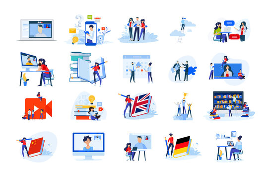 Set of modern flat design people icons of distance education, e-learning, school, video call, online training and course, webinar, video tutorial, language school, teaching, books and library.