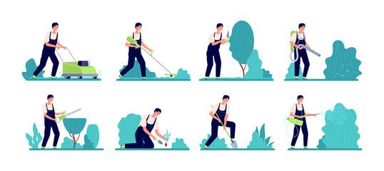 Fototapeta Gardener worker. Person work, rural organic farming or backyard garden services man. Professional farm care bush plants and tree vector set