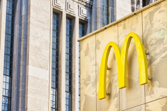 Building exterior with logo of a McDonald's restaurant in Rotterdam, The Netherlands on January 18, 2020
