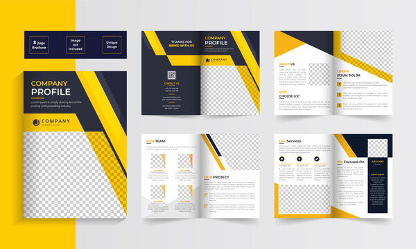 Business bifold brochure. Creative bi-fold pages brochure design. Corporate brochure template with modern, minimal and abstract design in A4 format.