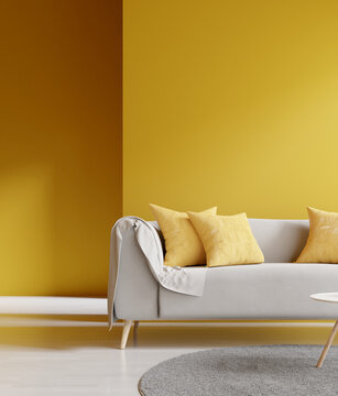 Modern interior living room design. Sofa with yellow wall. 3d rendering