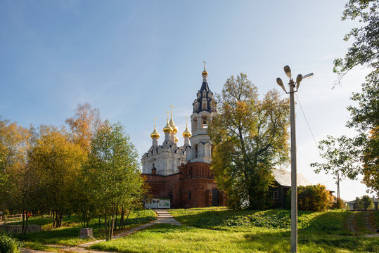 View of the Trinity Church in the village of Drachevo, Moscow Region on a sunny autumn day