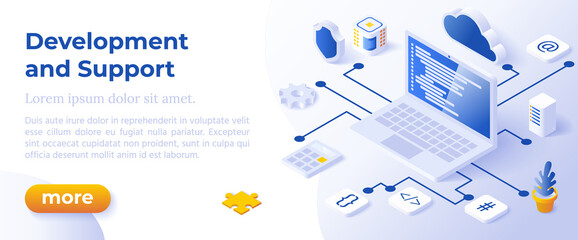 Fototapeta WEB DEVELOPMENT AND SUPPORT - Isometric Design in Trendy Colors Isometrical Icons on Blue Background. Banner Layout Template for Website Development obraz