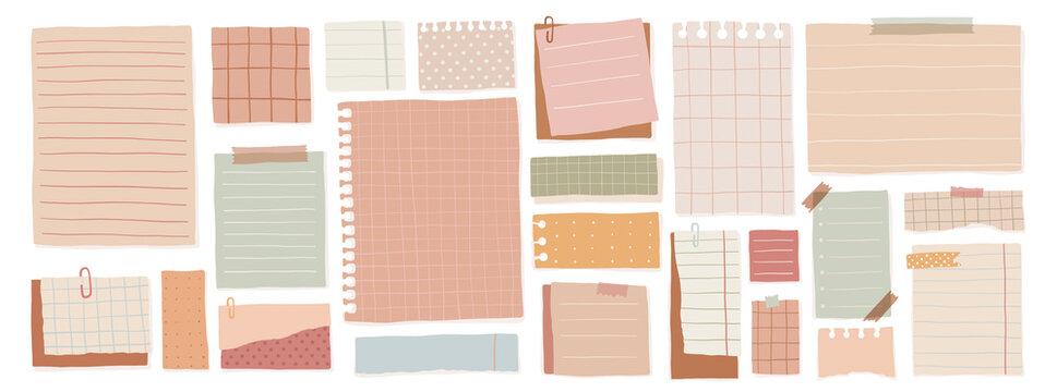 A set of leaflets for notes with different layouts. Large collection of cute blank sticky notes. Vector illustration.