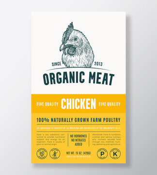Organic Meat Abstract Vector Packaging Design or Label Template. Farm Grown Poultry Banner. Modern Typography and Hand Drawn Chicken Head Silhouette Background Layout with Soft Shadow