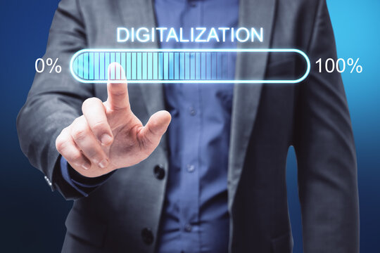 Future technologies concept with businessman finger on touch screen with digitalization word and loading bar element icon.