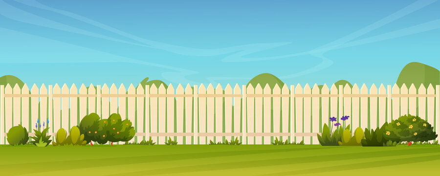 Fence and green lawn, rural landscape background. Vector garden backyard with wooden hedge, trees and bushes, grass and flowers, park plants. Spring summer outside landscape. Farm natural agriculture