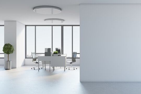 Blank white wall in spacious office hall with light color furniture, concrete floor and huge window. 3D rendering, mockup
