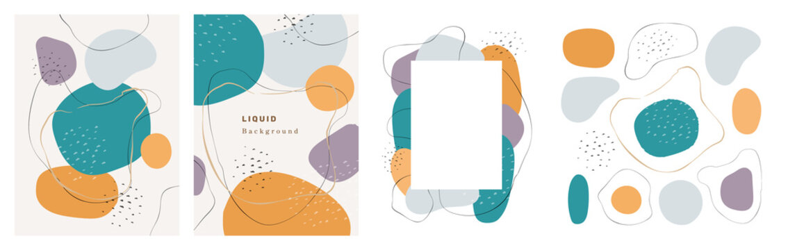 Watercolor design of banner, poster or brochure with blobs and brush strokes, shapes and frame, texture background. Vector painted patterns, color blotch, abstract minimal liquid shape, stains