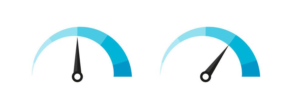 Risk meter. Satisfaction meter. Speedometer scale. Minimum to Maximum. Vector illustration