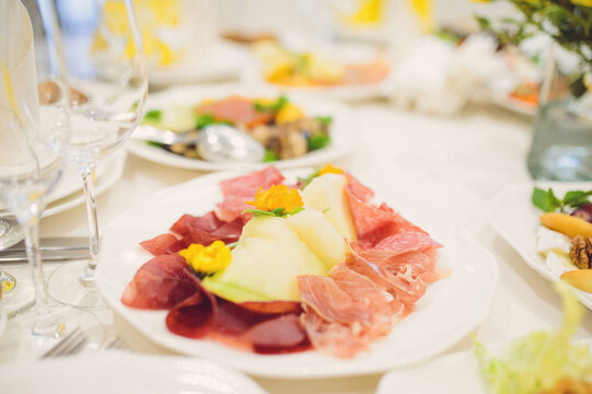 meat and melon with flowers