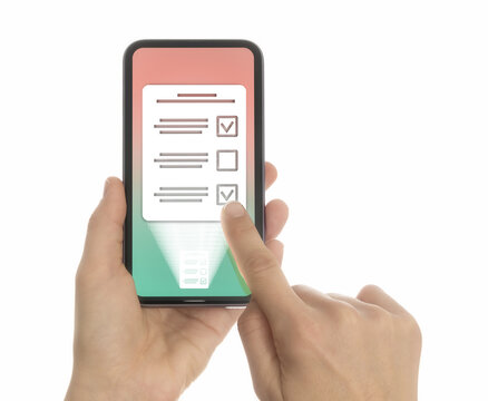 Woman selects the right answer in questionnaire on her smartphone. Concept of online testing, questionnaires, voting. Isolated on white