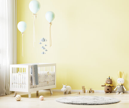 Yellow nursery room interior background with baby bedding, toys, balloons, nursery mock up, kids room interior, 3d rendering