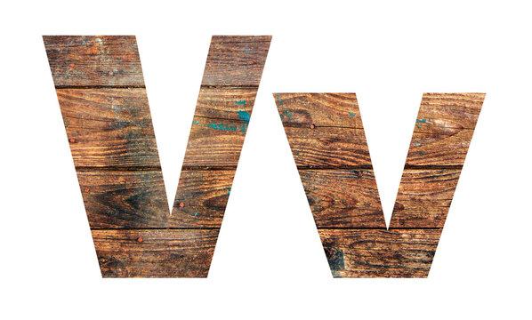 Wooden letters. Letter V. English alphabet