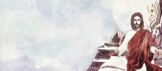 Fototapeta Resurrection. Christian Easter watercolor banner. obraz