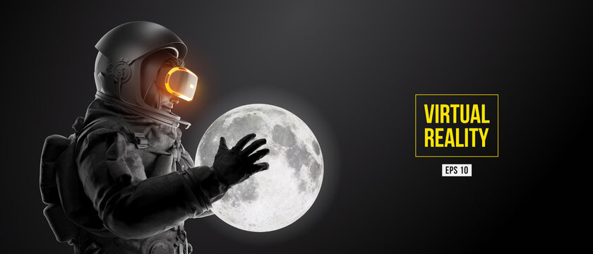 VR headset with neon light, future technology concept banner. Astronaut with virtual reality glasses on black background and Moon planet. VR games. Vector illustration. Thanks for watching