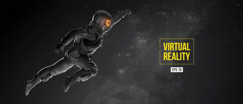 VR headset with neon light, future technology concept banner. Astronaut with virtual reality glasses on black background. VR games. Vector illustration. Thanks for watching