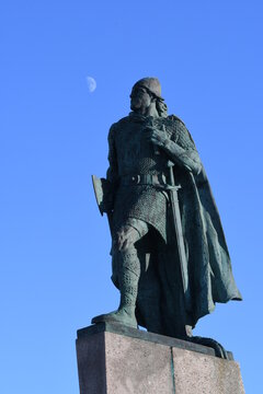 Leif Erikson the explorer contemplating a trip to the moon
