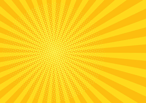 Pop art background. Comic cartoon texture with halftone and sunburst. Yellow starburst pattern. Retro effect with beams and dots. Vintage sunshine banner. Vector illustration.