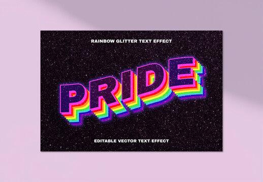 Rainbow Glitter Text Effect Design