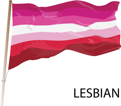 Vector illustration of Lesbian flag. Simple LGBT symbol flies in the wind.