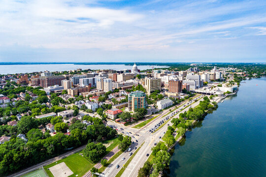 Aerial View of Madison, Wisconsin Isthmus and Wisconsin State Capital Building