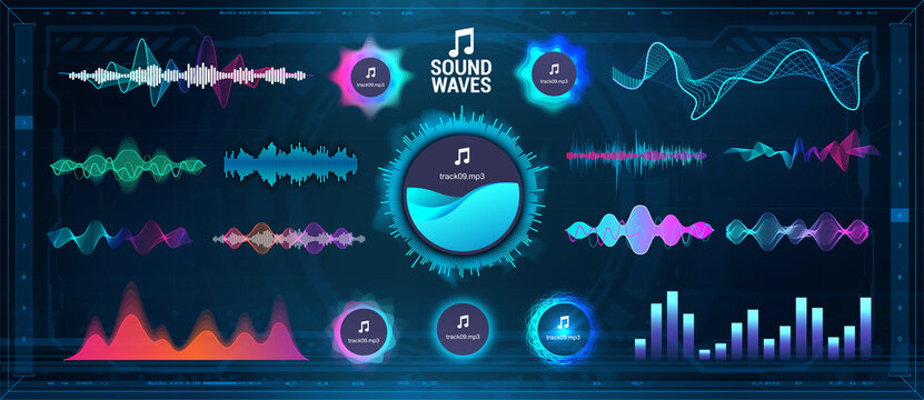 Modern Sound Waves - Equalizer. Futuristic waveforms, circle UI and UX bars, voice graph signal and music wave in futuristic HUD style. Microphone voice and sound recognition. Vector audio waves set