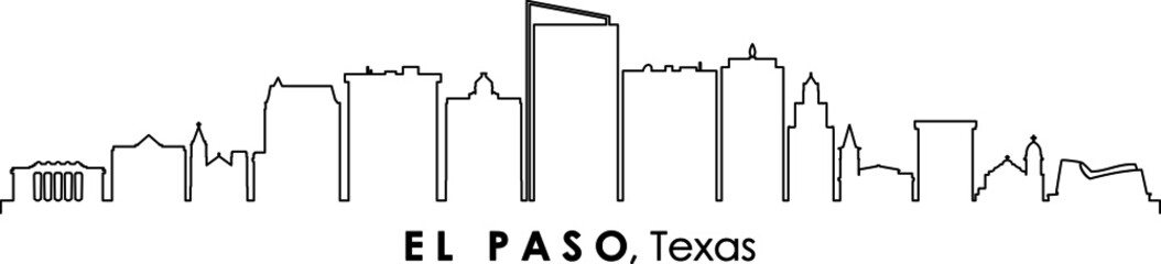 EL PASO Texas USA City Skyline Vector