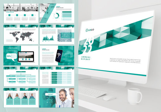Multipurpose Pitch Deck with Green Squares