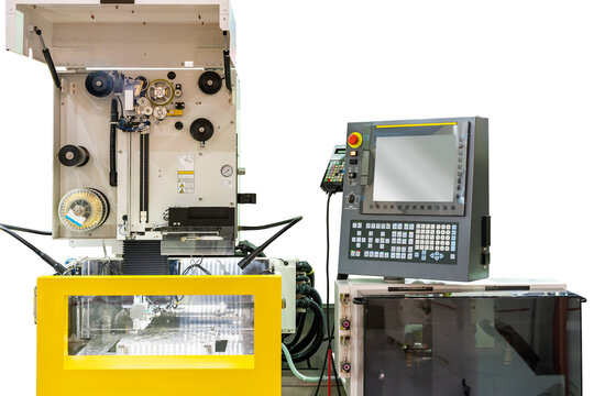 high technology and precision cnc edm electric wire cut machine with cmm probe dimension inspection and product during process forming in manufacturing isolated on white background with clipping path