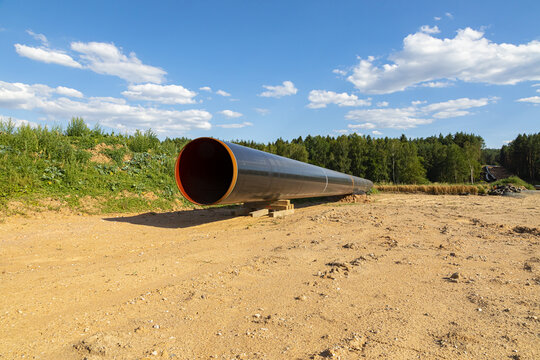 Industry gas(oil) pipeline construction. Cloudy sky.