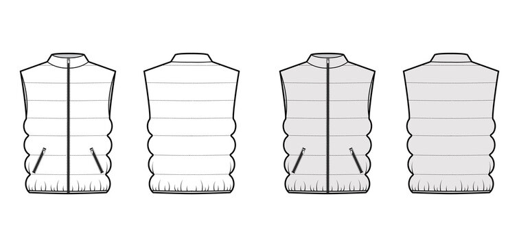 Down vest puffer waistcoat technical fashion illustration with sleeveless, stand collar, zip-up closure, pockets. Flat template front, back, white, grey color style. Women, men, unisex top CAD mockup