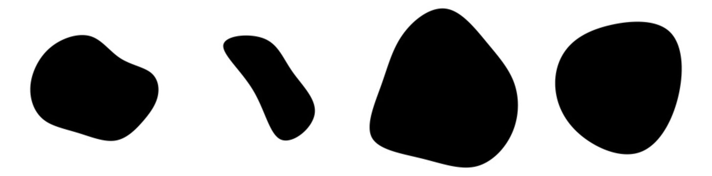 Random blotch, inkblot. Organic blob, blot. Speck shape.Splat, fleck graphic. Drop of liquid, fluid. Pebble, stone silhouette.Ink stain, mottle spot irregular shape