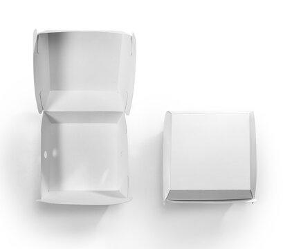 Blank white burger carton box mock up isolated on white background