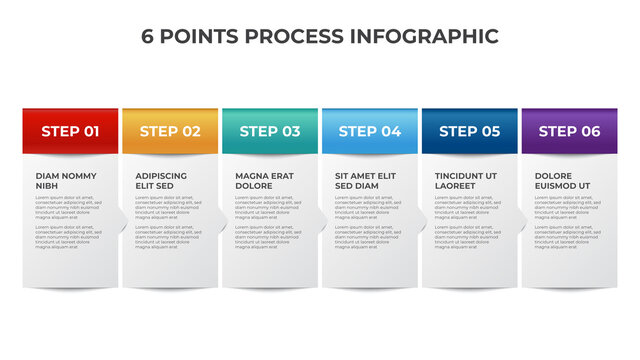6 points of block list process diagram, infographic element template vector, can be used for presentation, etc