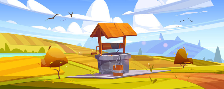 Old stone well with drinking water on yellow hill. Vector cartoon autumn landscape with fields, orange bushes and vintage well with wooden roof, pulley and bucket