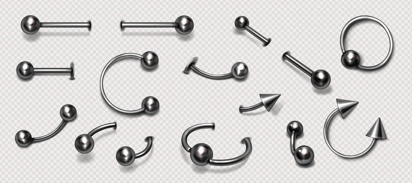 Set of piercing jewelry, metal pierce rings, barbell with balls and cones for face and body decoration. Beauty accessories, earrings isolated on background, Realistic 3d vector icons