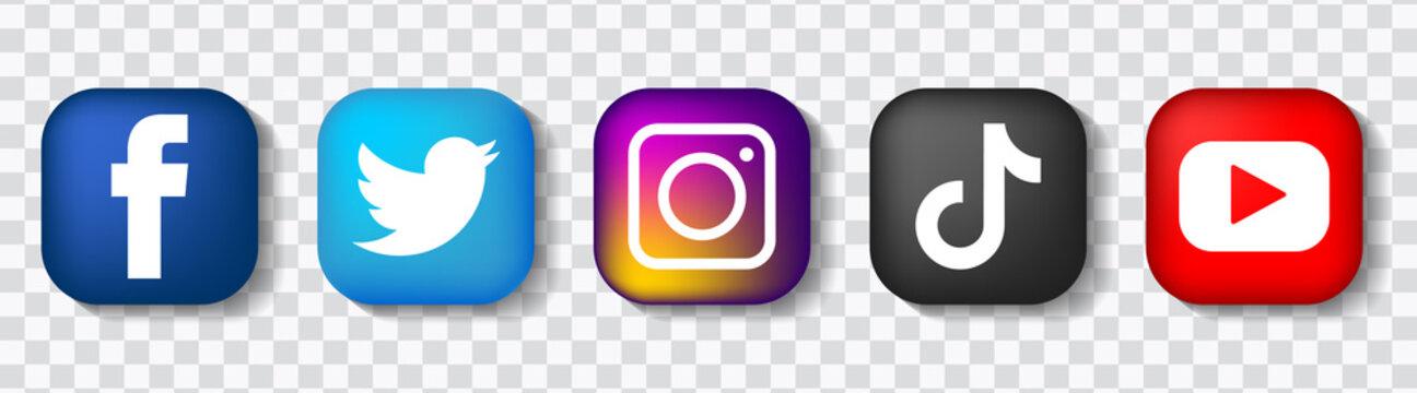 Square logo of popular social media networking. TikTok, twitter, Facebook, instagram, YouTube icon