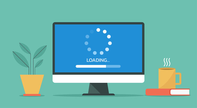 computer loading process concept, system software update and upgrade installation, vector flat design illustration