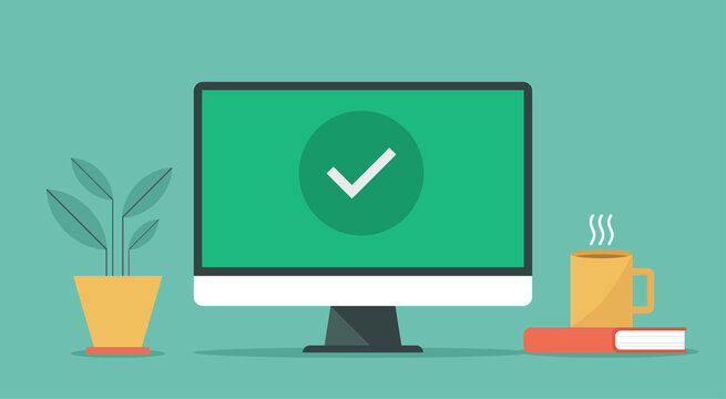 online approve confirmed or check mark on computer screen, vector flat design illustration