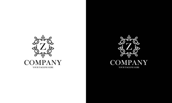 Letter Z logo or monogram. For your business. Vector sign. Beautiful flower and leaf style. Personal logo.